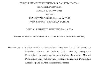 Download Permendikbud Nomor 20 Tahun 2018 Pdf