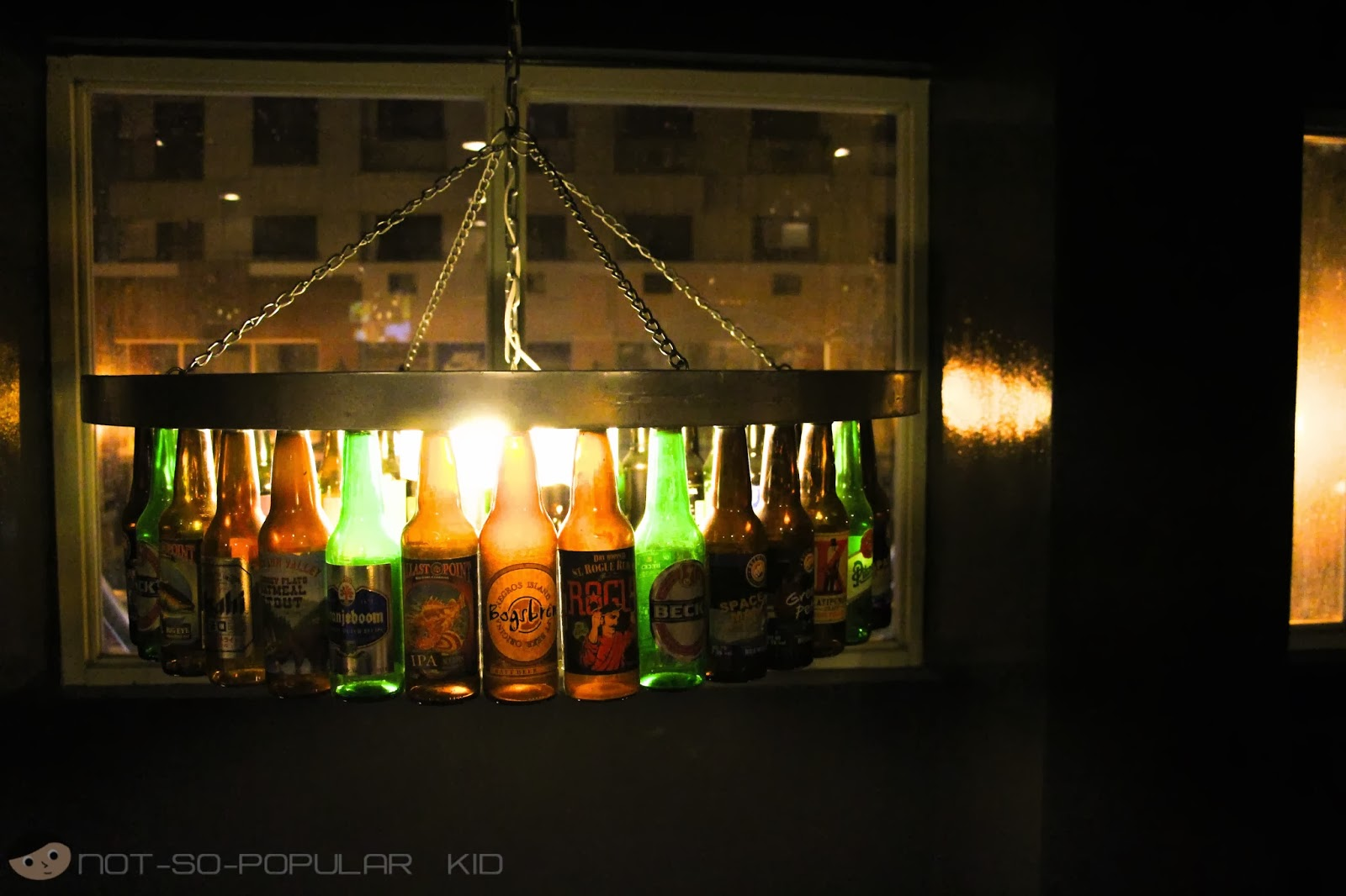 Burgers and Brewskies - the Beer Bottle Chandelier!