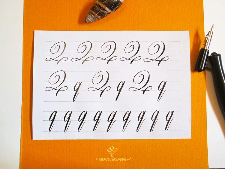 """Caligrafia copperplate, ¿cómo escribir la letra """"Q""""?"""