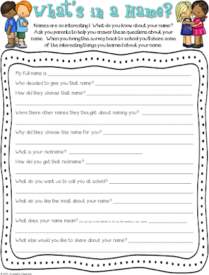 What's Your Name, Name Survey,  Back to School Activity