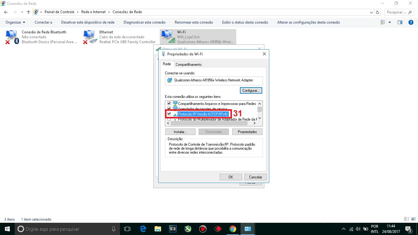 """31 - Procure no quadro """"Esta conexão utiliza os seguintes itens"""", procure por """"Protocole IP Versão 4"""" e da dois clique sobre ele."""