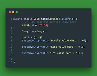 Contoh Explicit Casting Java