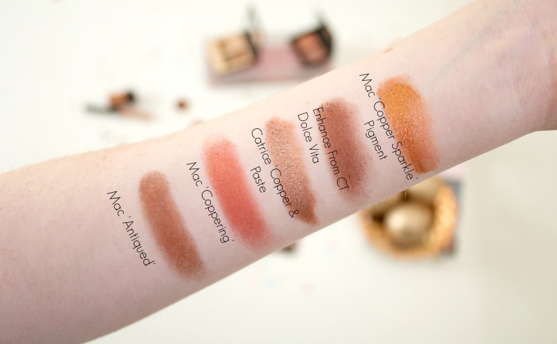 Copper eyeshadow swatches