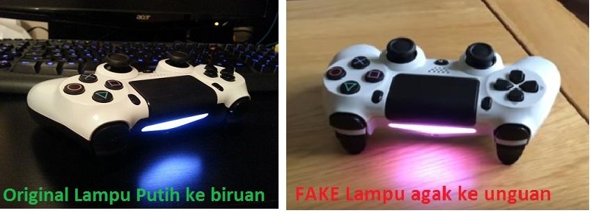Lampu LED Joystick DualShock 4 asli dan palsu