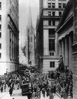 Looking down Wall Street to Trinity Church