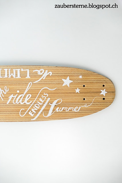 Lettering Skateboard, Kreativblog Schweiz, endless summer