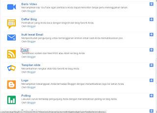 cara memasang widget feed