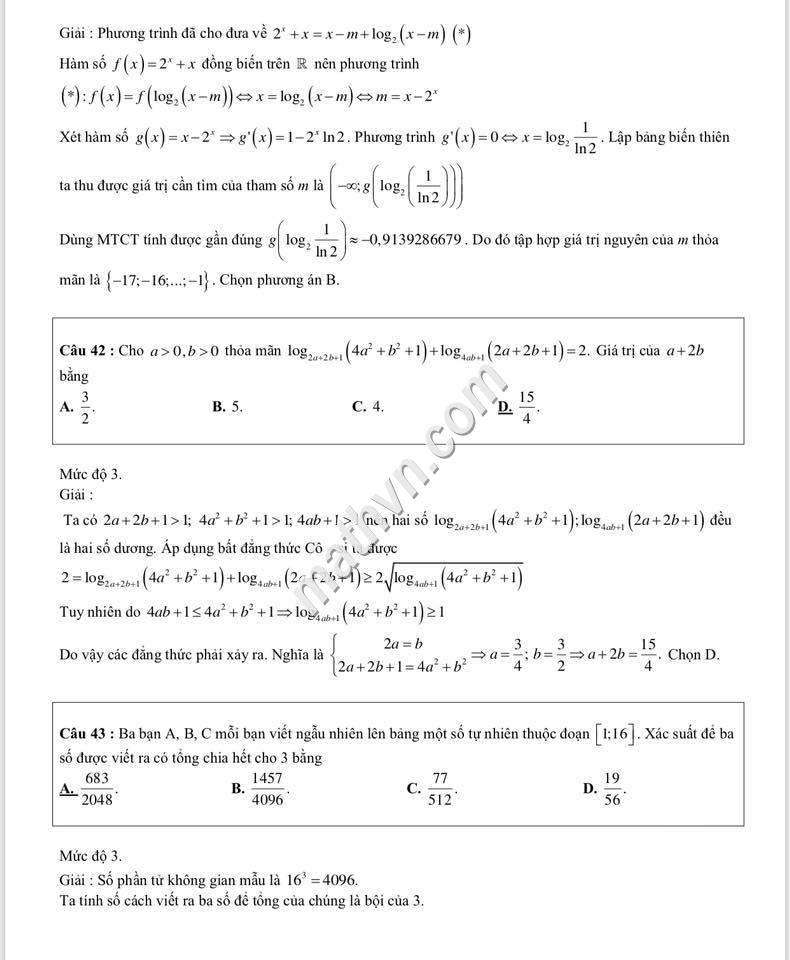 Lời giải chi tiết đề thi thpt quốc gia 2018 môn toán