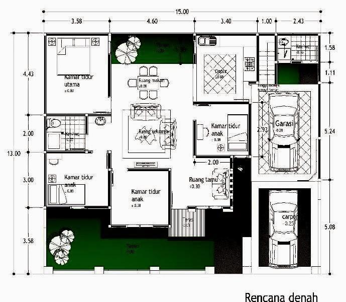 denah rumah ukuran 6x10 minimalis satulantai 4