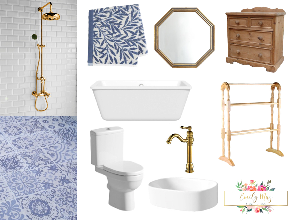 Blue and White Bathroom Design- Sneak Preview! / emily may