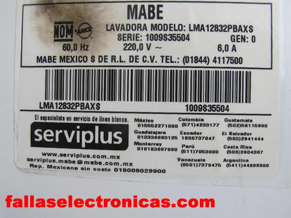 Diagrama Lavadora Mabe 12 5 Kilos Modelo Lma12832pbaxs