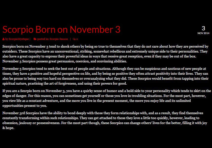 Personality Profile for People Born on November 14