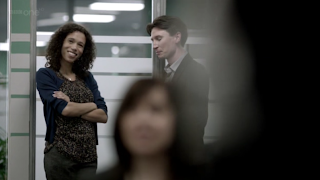Vinette Robinson and Jonathan Aris as Sally Donovan and Anderson BBC Sherlock
