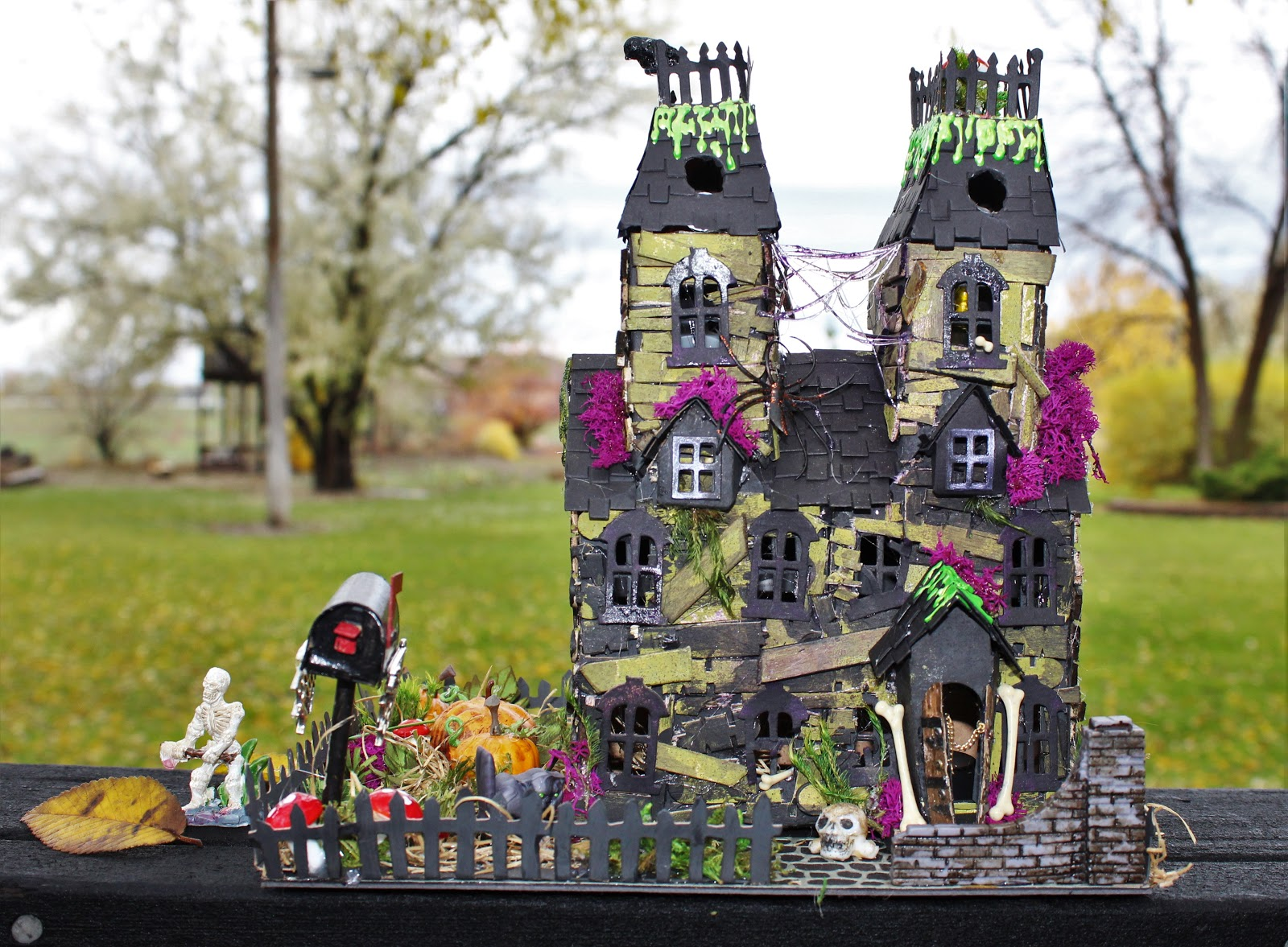 juju crafts: halloween village combining villiage, bungalow, and