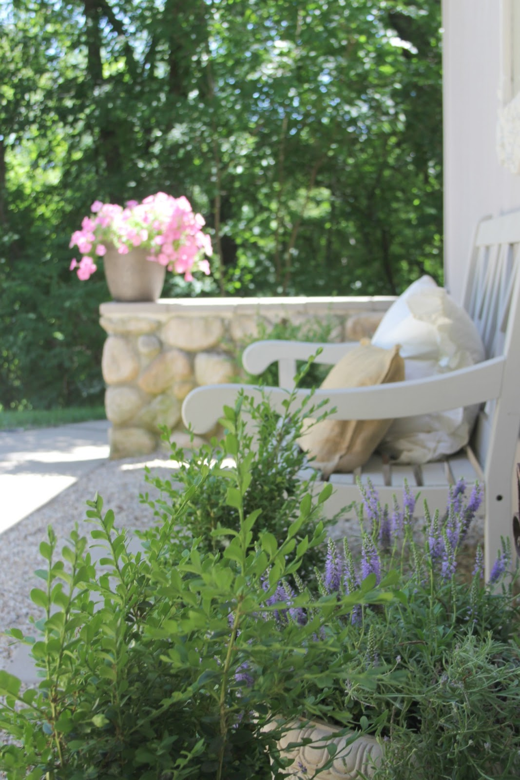 French inspired pea gravel #Frenchcourtyard with lavender, bench, and stone wall by Hello Lovely Studio