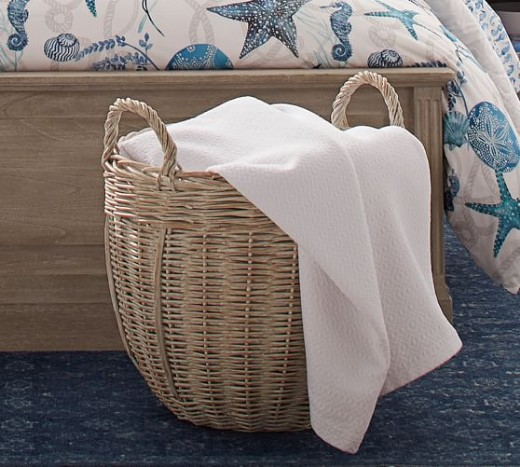 White Washed Storage Wicker Baskets on Sale at Pottery Barn