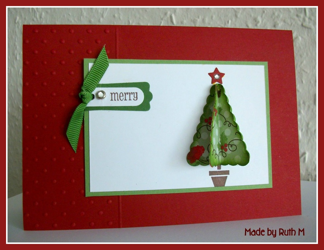 Flower Sparkle: 3d Tree Christmas Cards X 2