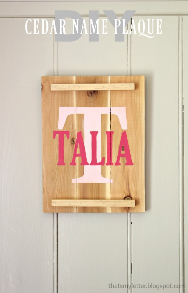 diy cedar name plaque