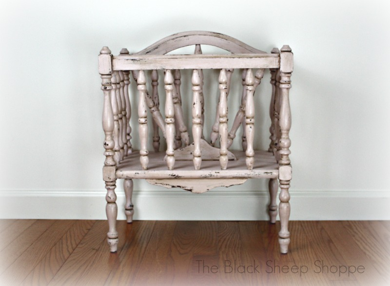 Shabby chic magazine rack painted in Antoinette Pink.