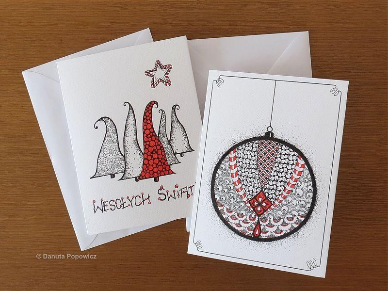 kartki świąteczne rysunek cienkopisem
