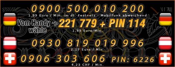 Nummern für das Dominatelefon - Deutschland, Österreich und Schweiz