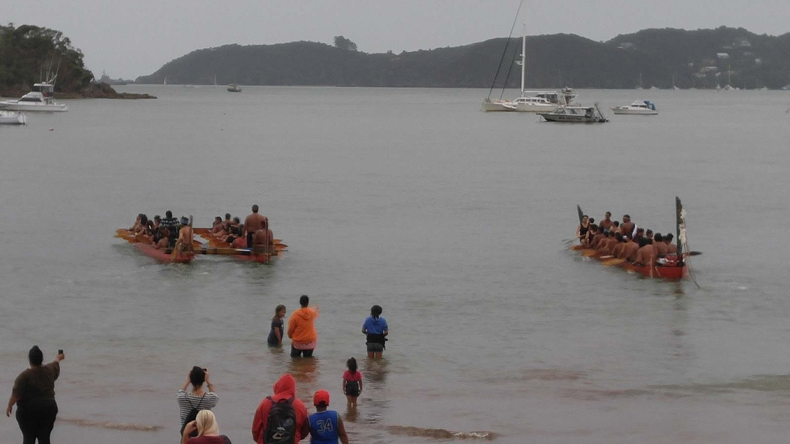 Maori long boats getting ready for the Treaty Day celebration