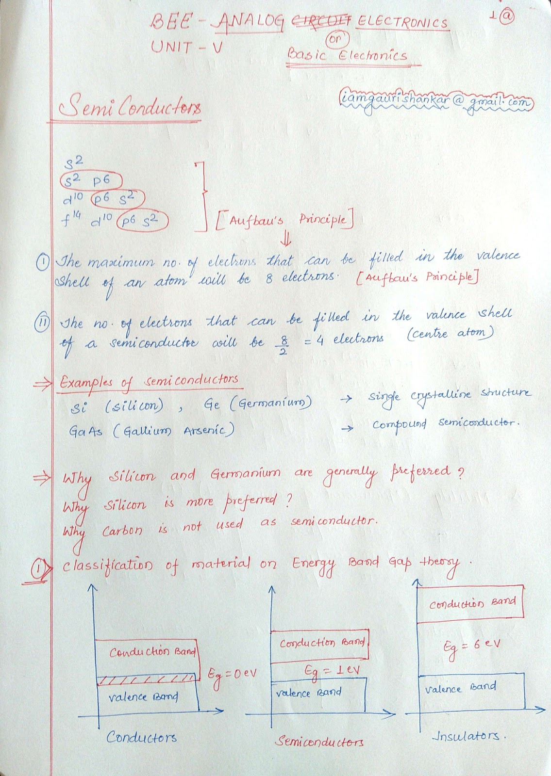 BEE Basic Electronics Notes : Part 1, Semiconductors - DROID