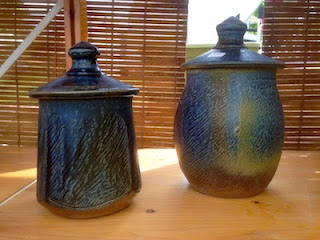 Squared ceramic lidded jars by Future Relics Pottery