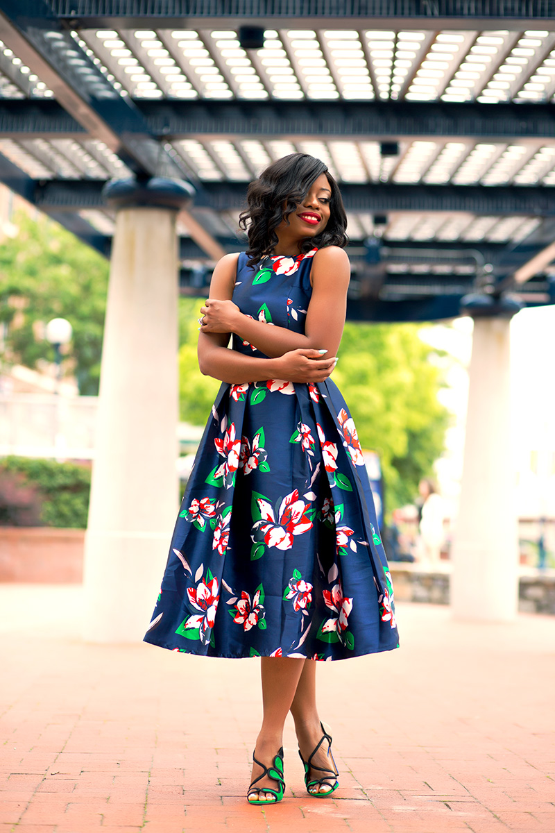 Floral print dress for wedding guest