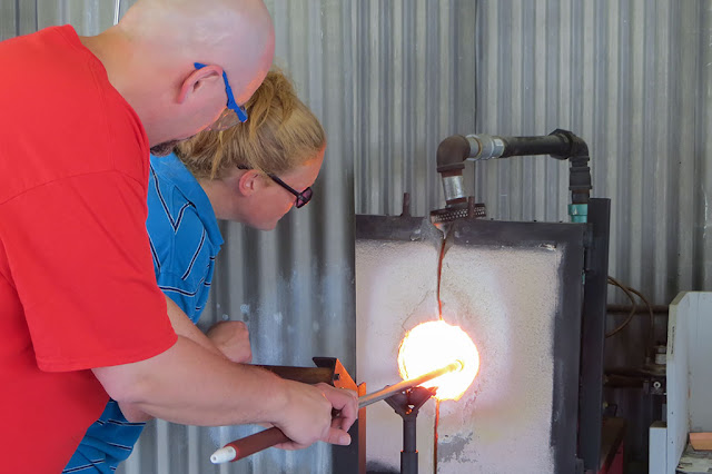 Bubba heats some glass at Golden Glassblowing Experience - Skagway, Alaska