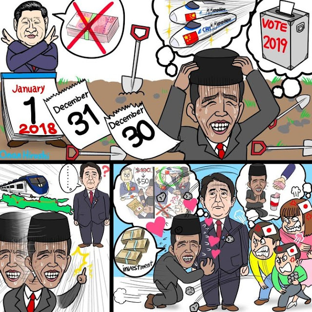 Komikus Jepang sindir Jokowi 'mengemis' soal kereta cepat