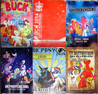 My conbooks from BUCK 2013-14 and UK PonyCon 2014-15-16-17
