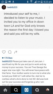 Tiwa Savage Husband, Tee Billz Openly Accuse Her Of Sleeping With Don Jazzy and 2Face [PICS]