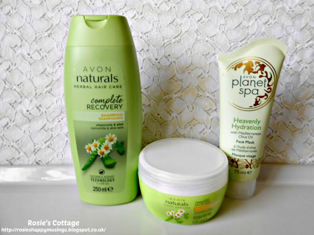 Avon Naturals - Chamomile & Aloe Vera Shampoo and Hair Mask, Planet Spa Face Mask