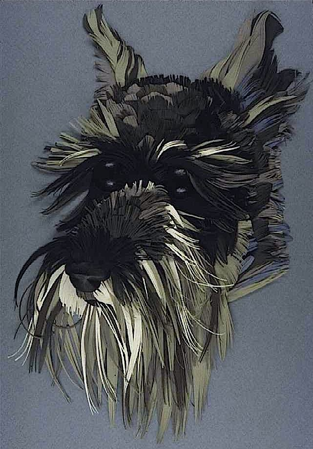 A dog portrait in papercut