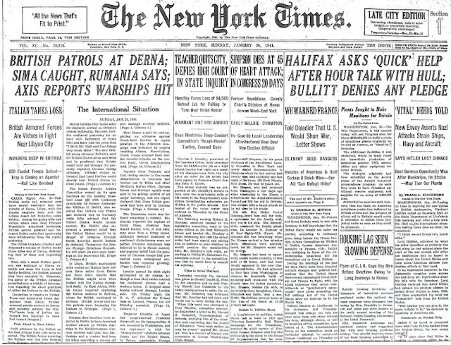 26 January 1941 worldwartwo.filminspector.com NY Times headlines