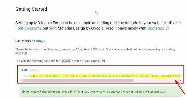 Cara Memasang Icon Font Material Design Iconic Font di Blog