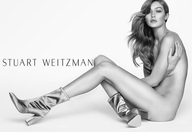 Gigi Hadid poses nude in Stuart Weitzman's spring 2017 campaign