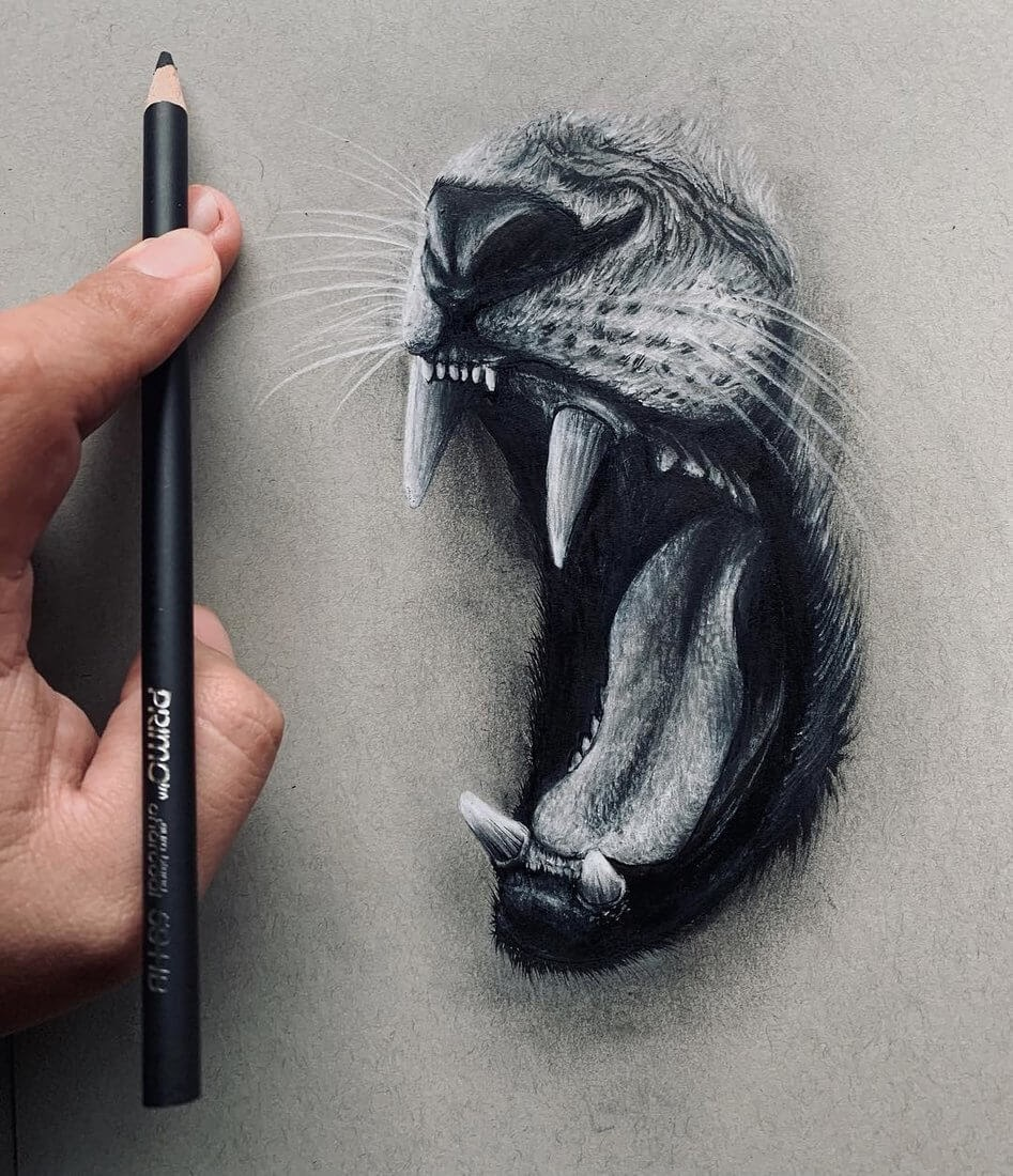 03-Roar-Study-Jonathan-Martinez-Animal-Drawings-with-Colored-Pencils-www-designstack-co