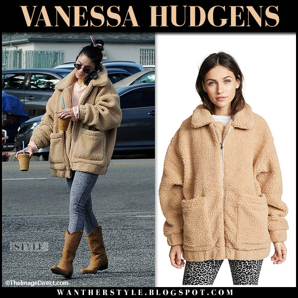 Vanessa Hudgens in beige teddy i.am.gia. coat and cowboy boots celebrity winter style november 25