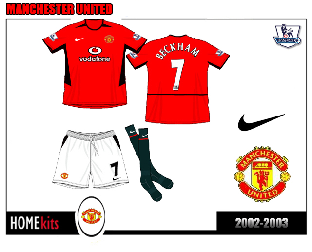 new concept 7838b 4dc4d Ionut Football Kits: Manchester United Home kit 2002-2003