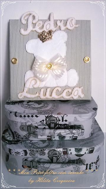 quadro-enfeite porta maternidade-em feltro-príncipe urso-Pedro-Lucca