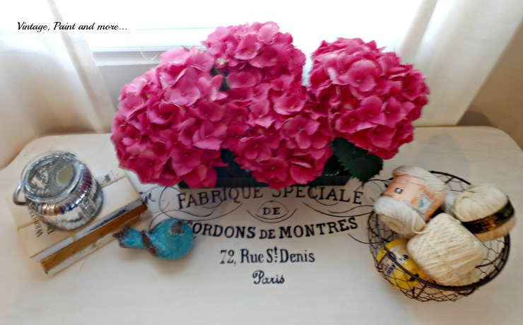 Vintage, Paint and more... hydrangeas on a French typography table, mercury glass votive holder, wire egg basket