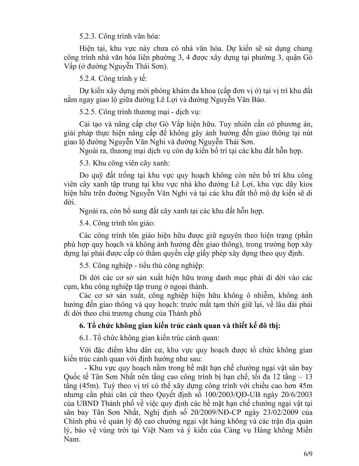 Quyết Định Số 2921/QĐ-UBND Quy Hoạch Khu Dân Cư Phường 4 Quận Gò Vấp Tờ 6
