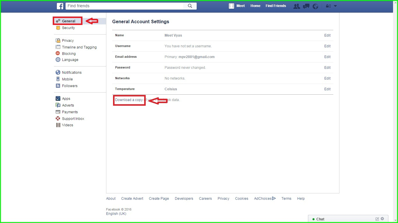 How to delete facebook account permanently easy delete click download a copy of your facebook data below your general account settings ccuart Image collections