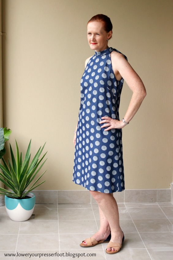 polka dot dress in blue denim