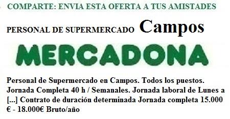 Campos, Illes balears. Lanzadera de Empleo Virtual. Oferta Mercadona