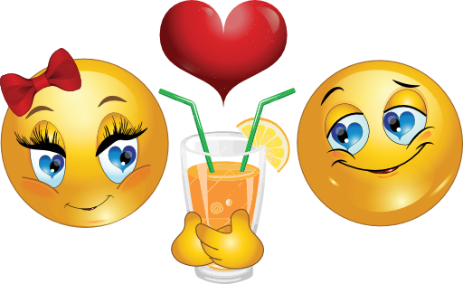 Smileys drinking from the same glass