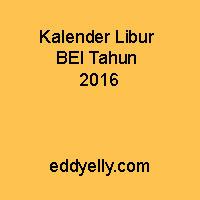 Kalender Libur BEI Tahun 2016