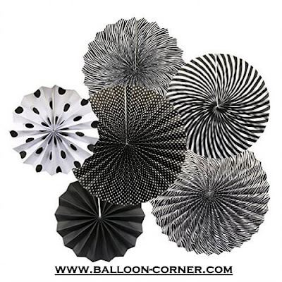 Paper Fan Set 6 Pcs Warna Hitam